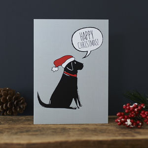 Pack Of Six Black Labrador Christmas Cards - cards & wrap