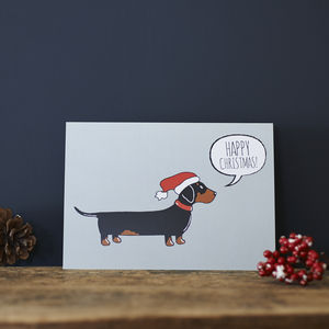 Pack Of Six Dachshund Christmas Cards - cards & wrap