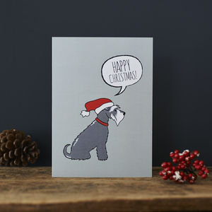 Pack Of Six Grey Schnauzer Christmas Cards