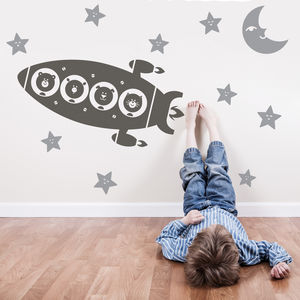 Animal Space Rocket Trip Wall Stickers - baby's room