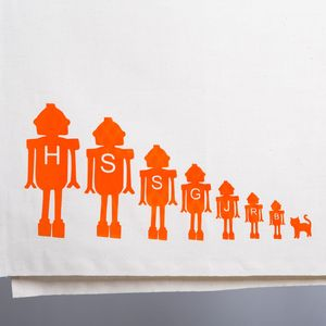 Personalised Tea Towel With Robot Family - tea towels