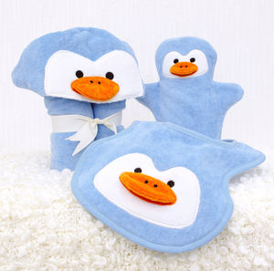 Personalised Perky Penguin Baby Towel Gift Set - bathtime