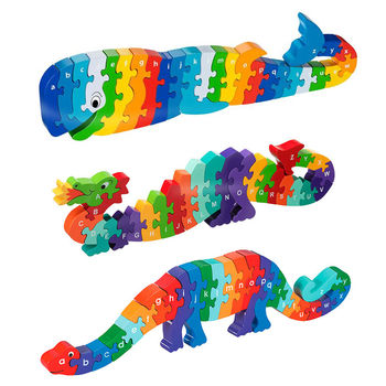 Whale, Dragon and Dinosaur A- Z Puzzles