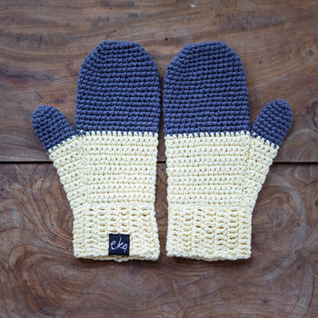light yellow and grey mittens