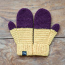 Aubergine and Yellow Mittens