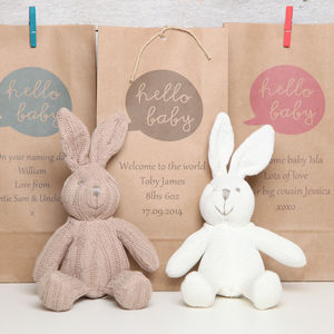 Organic Bunny Rabbit Rattle With Personalised Gift Bag