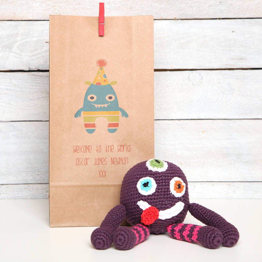 red berry apple Monster Rattle With Personalised Gift Bag