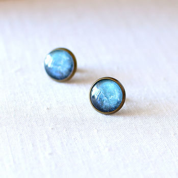 Dark Blue Galaxy Earrings