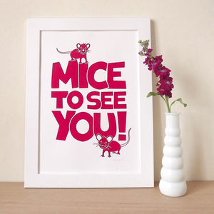 Funny Mice Screen Print - canvas prints & art for children