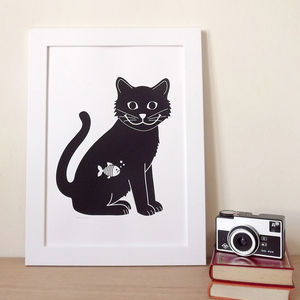 Cat Print 'Happy Cat Screen Print' - posters & prints