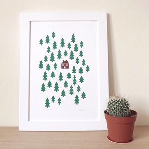 House In The Woods Screen Print For Nursery