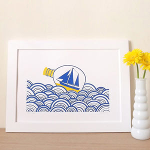 Sea Art 'Ship In A Bottle' Screen Print