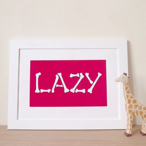 'Lazy Bones' Bedroom Screen Print - canvas prints & art for children