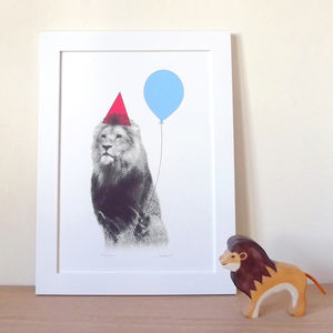 Party Animal Lion/Elephant/Eagle Print - children's room
