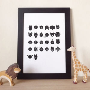 Animal Alphabet Children's Room Screen Print