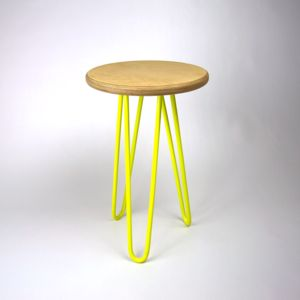 Wooden Stool With Industrial Hairpin Legs - furniture