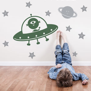 Martian Spaceship And Happy Star Wall Stickers - decorative accessories