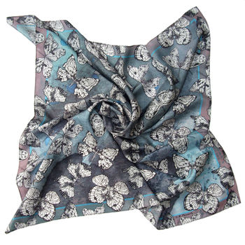 Caeruleus | Butterfly Moth Square Silk Scarf
