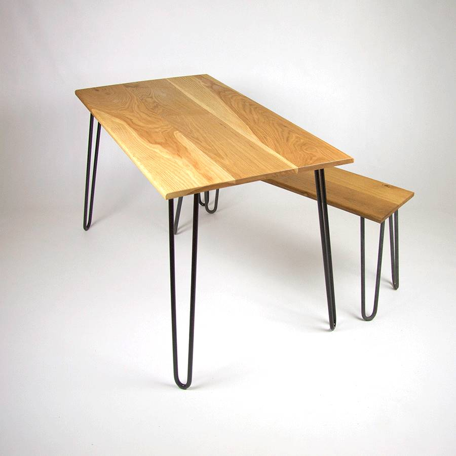 4 Seat Table Ral 9005 2 Bench Raw Steel Dining With Hairpin Legs
