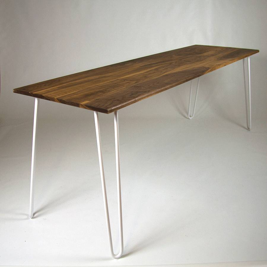 Dining Table With Industrial Hairpin Legs In Walnut By