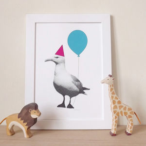 Funny Party Animal Seagull Print