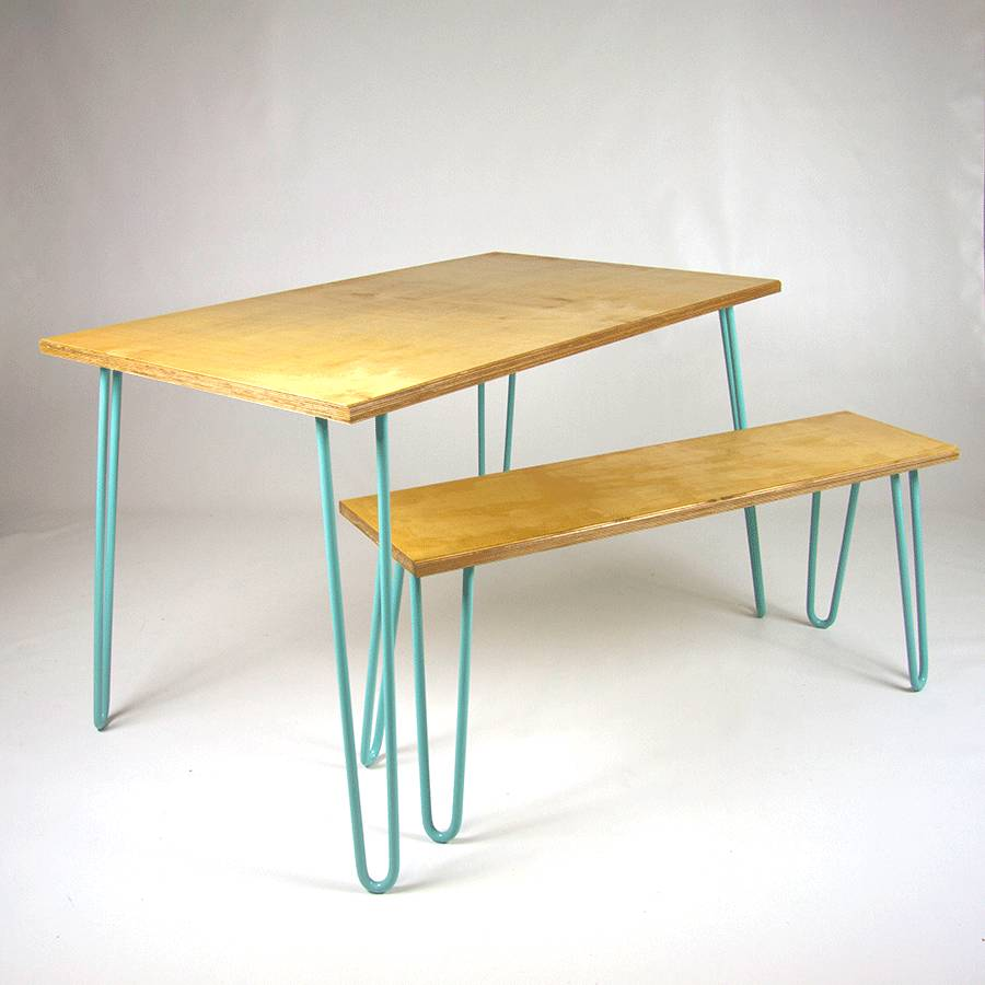 Bench With Industrial Hairpin Legs In Plywood By Cord