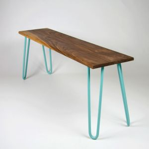 Walnut Bench With Industrial Hairpin Legs - furniture