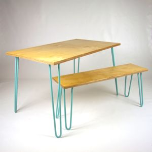 Birch Ply Dining Table And Benches With Hairpin Legs - furniture