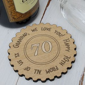 Personalised 70th Birthday Keepsake Coaster - placemats & coasters