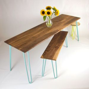 Walnut Dining Table And Benches With Hairpin Legs