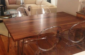 Large Dining Table Walnut Live Edge Detail