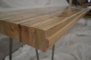 Large Reclaimed Oak Bench / Tongue And Groove Detail - dining room