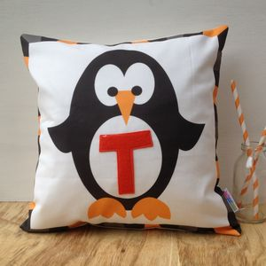 Personalised Initial Penguin Cushion - embroidered & beaded cushions