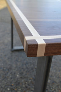 Desk Solid Black Walnut With Maple Inlay Steel Legs