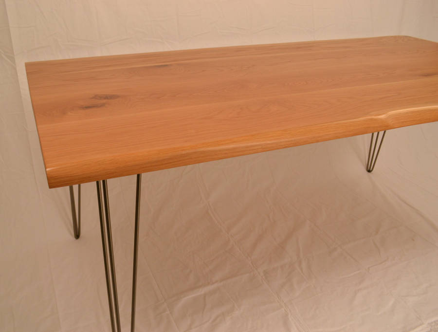 Oak dining table live edge detail hairpin legs by wicked