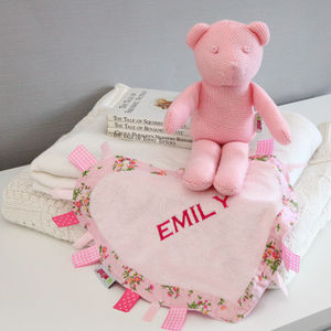 Personalised Heart Comforter And Knitted Teddy Set - blankets, comforters & throws
