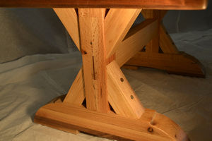 Coffee Table: Reclaimed Oak W/ Trestle Leg Design - furniture