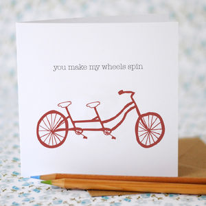 'You Make My Wheels Spin' Card - gifts for cyclists