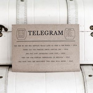 Printable Telegram Thank You Card Digital File