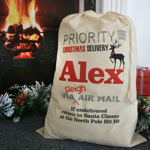 Personalised Priority Delivery Christmas Sack - stockings & sacks