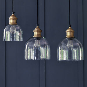 Flori Glass Pendant, Brass - pendant lights