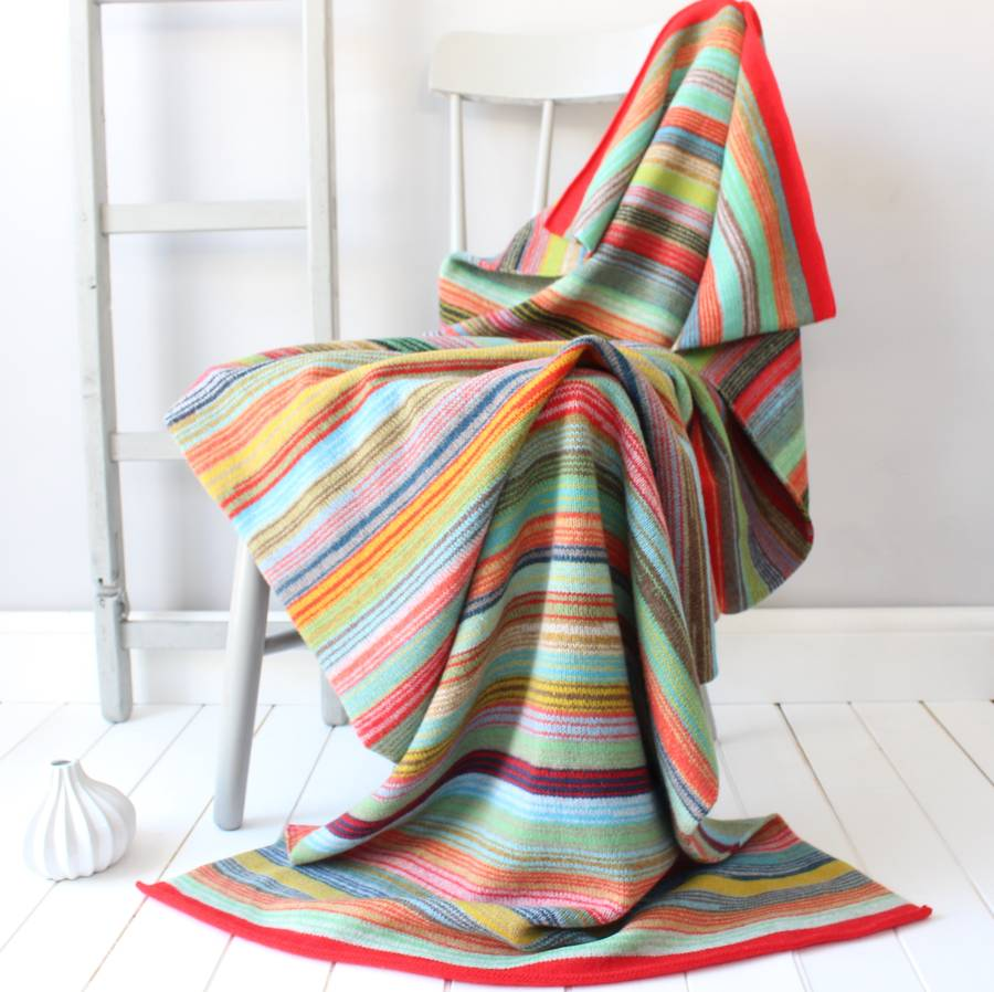 Bombay Striped Knitted Lambswool Throw By Gabrielle Vary