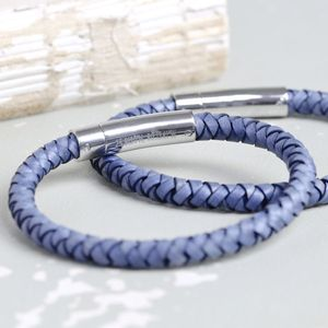 Engraved Men's Denim Blue Leather Bracelet