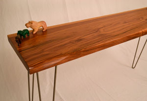 Walnut Side Table On Solid Steel Hairpin Legs - furniture