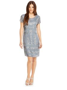 Pale Blue Grey Beaded Vintage Dress - dresses