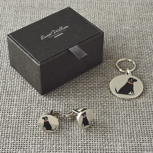 Daddy And Me Black Labrador Cufflinks And Dog Tag Set - men's jewellery