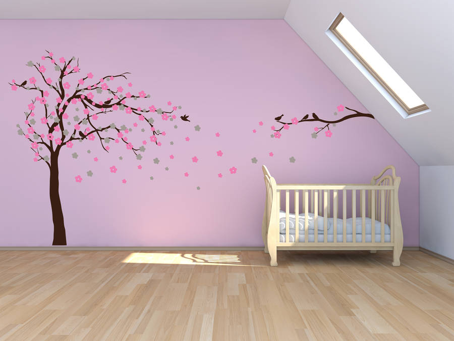 Floral blossom tree wall stickers mirrored direction