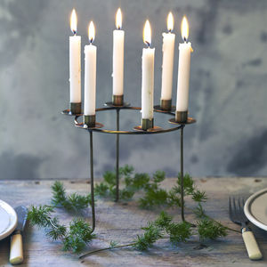 Mini Mae Brass Candelabra - christmas tableware