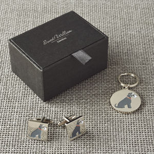 Daddy And Me Schnauzer Cufflinks And Dog Tag Set