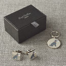 Daddy And Me Grey Schnauzer Cufflinks And Dog Tag Set
